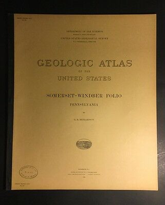 Pennsylvania Somerset Windber USGS Folio GEOLOGICAL ATLAS 1934 #224 MINT!