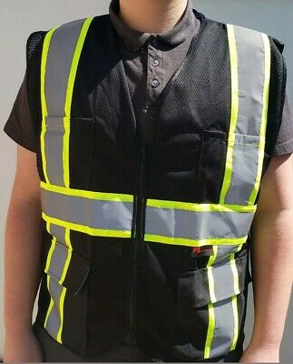 Fx Two Tone Hi-vis Black Safety Vest With 4 Front Pocket Size Small