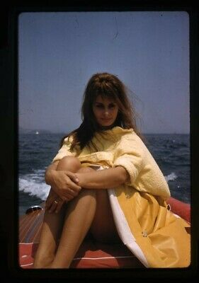 Sophia Loren Vivid Color Iconic Pose on speedboat Original 35mm Transparency