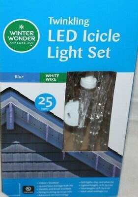 Twinkling LED HANGING ICICLE LIGHT SET BLUE LIGHTS WHITE WIRE 25 LIGHTS NEW