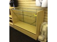 NEW SHOP DISPLAY COUNTERS 1200mm x 450mm MAPLE GLASS RETAIL CABINET DOORS FLATPACKED GLASS
