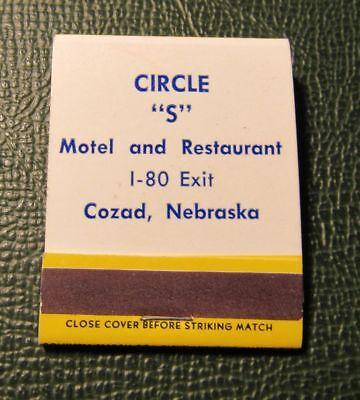 Matchbook   Circle S Motel Restaurant Cozad Ne Full Best Western