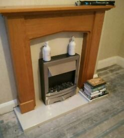 Electric Fireplace with marble base and wooden surround