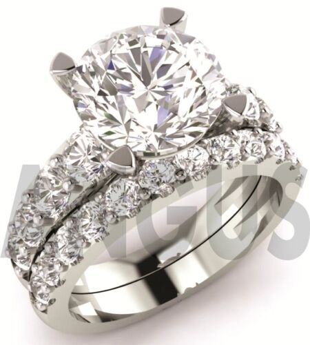 3.58ct Round Solitaire Diamond Engagement Ring Wedding Band Solid 14k White Gold