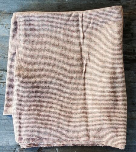 """Vintage Brown and White Small Check Wool Fabric - 66"""" x 62"""""""