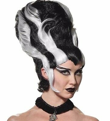 Bride of Frankenstein Costume Wig Monster White and Black Beehive - Fast Ship - - Frankenstein And Bride Halloween Costumes