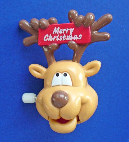 Russ PIN Christmas Vintage WIND UP REINDEER Action Movement Yuletide Yakkers