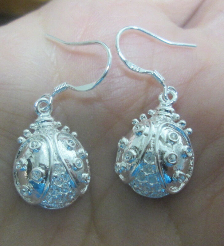 Sterling Silver Ladybug Lady Beetle Dangle Earrings