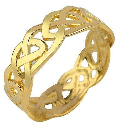 Solid Gold Celtic Trinity Knot Band Eternity Ring - Gold Trinity Knot Ring