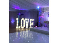 Hire 4ft LOVE & MR and MRS illuminated / marquee/ lights letters sign from £125 & Candy Cart £60
