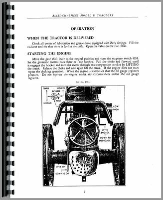 Allis Chalmers U Tractor Operators Manual