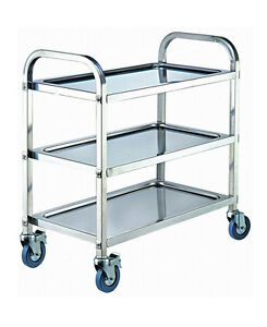 Stainless Steel 3 Tier Kitchen Dining Food Utility Trolley Cart 75x40x83.5cm New
