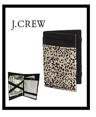J CREW INSIDE OUT MAGIC WALLET LEATHER LEOPARD PRINT CALF HAIR BLACK NWT for sale  Fresh Meadows