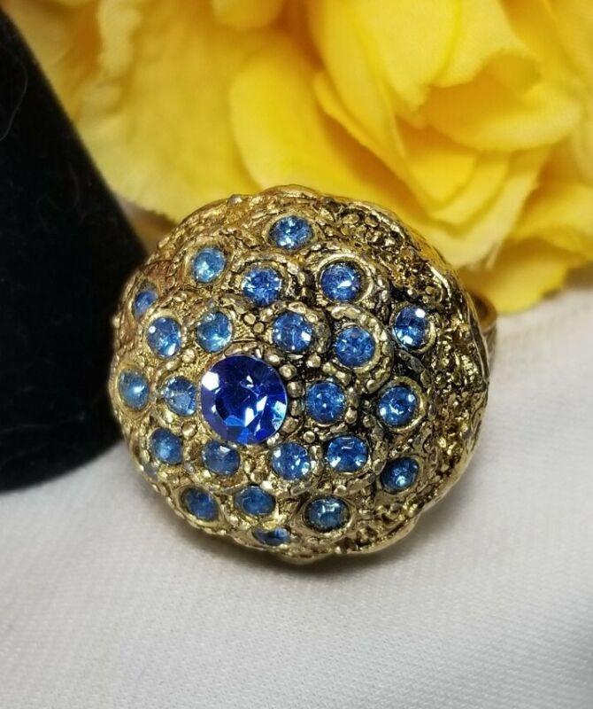 Vintage Gold Blue Rhinestone Poison Cocktail Ring
