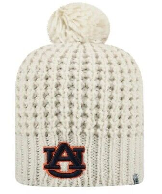 New Top Of The World Auburn Tigers Pom Beanie Cream One Size Women's Cable (Tigers Ladies Cream)