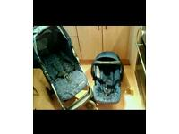 Mothercare U-Move navy travel system. Pram & car seat with raincover.