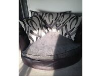 Large Grey 3 Seater And Swivel Chair