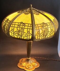 fine antique american art nouveau slag glass lamp c 1910 panel leaded. Black Bedroom Furniture Sets. Home Design Ideas