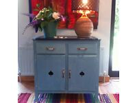 Vintage Painted Shabby Kitchen Cupboard with metal top, 2 drawers and 2 door cupboard