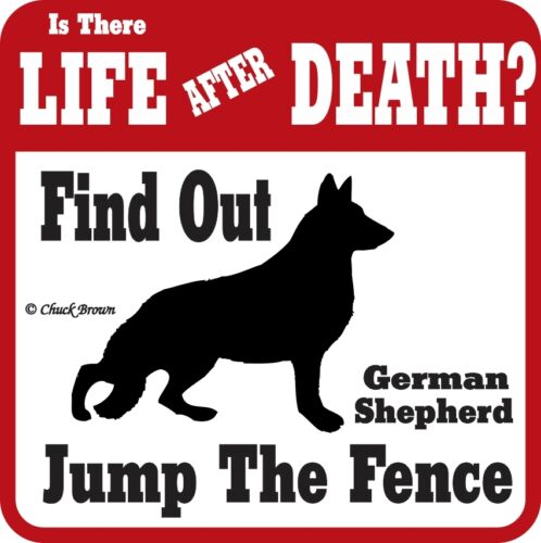 German Shepherd Life after Death Funny Warning Sign