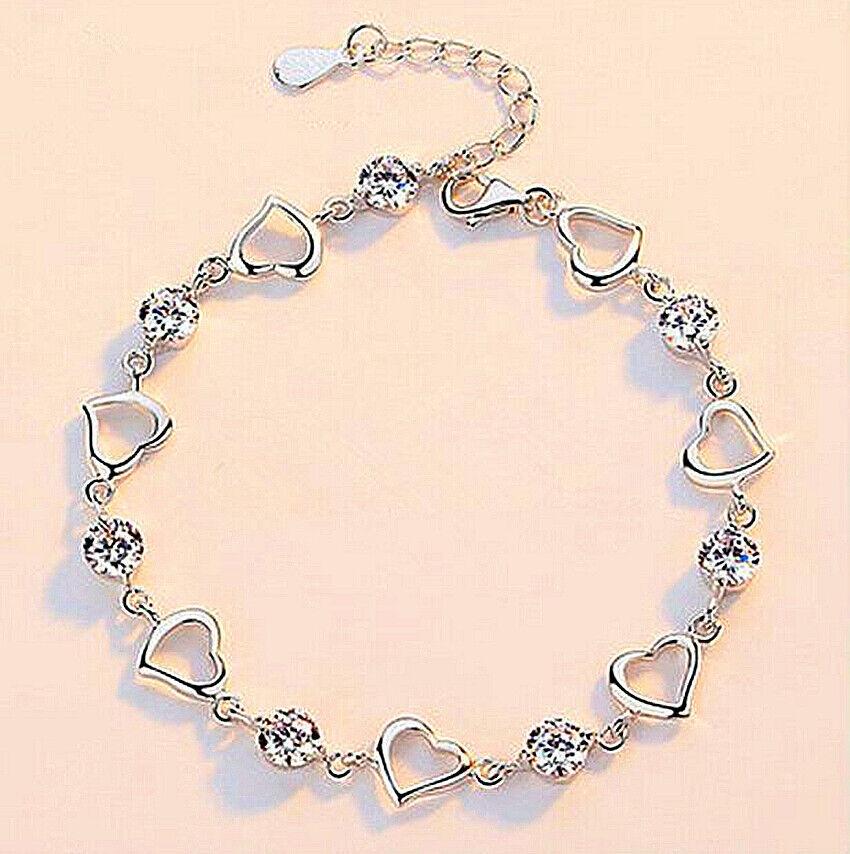 Jewellery - Crystal Heart Linked Charm Bracelet 925 Sterling Silver Womens Jewellery Gift UK