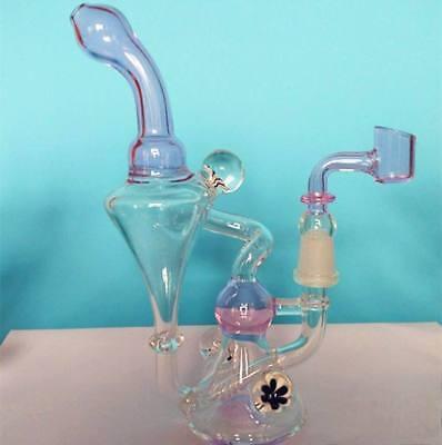 Glass Bongs Ball Beach Perc Recycler Vapor Water Pipes Spiral Rig Hookahs Pink