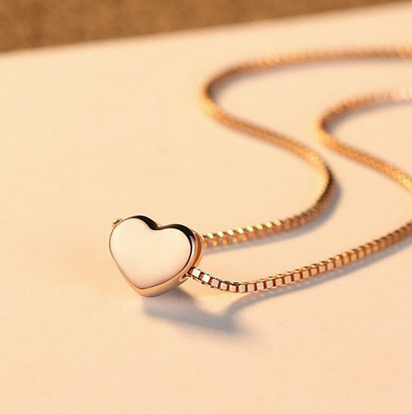 Jewellery - Rose Gold Heart Charm Pendant 925 Sterling Silver Chain Necklace Women Jewellery