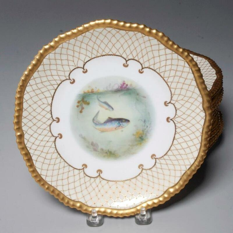ANTIQUE GROUP 12 COPELAND HAND PAINTED FISH PLATES FOR DAVIS COLLAMORE & CO.