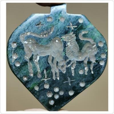 Beautiful Old Jade stone intaglio seal stone Pendant  # 4