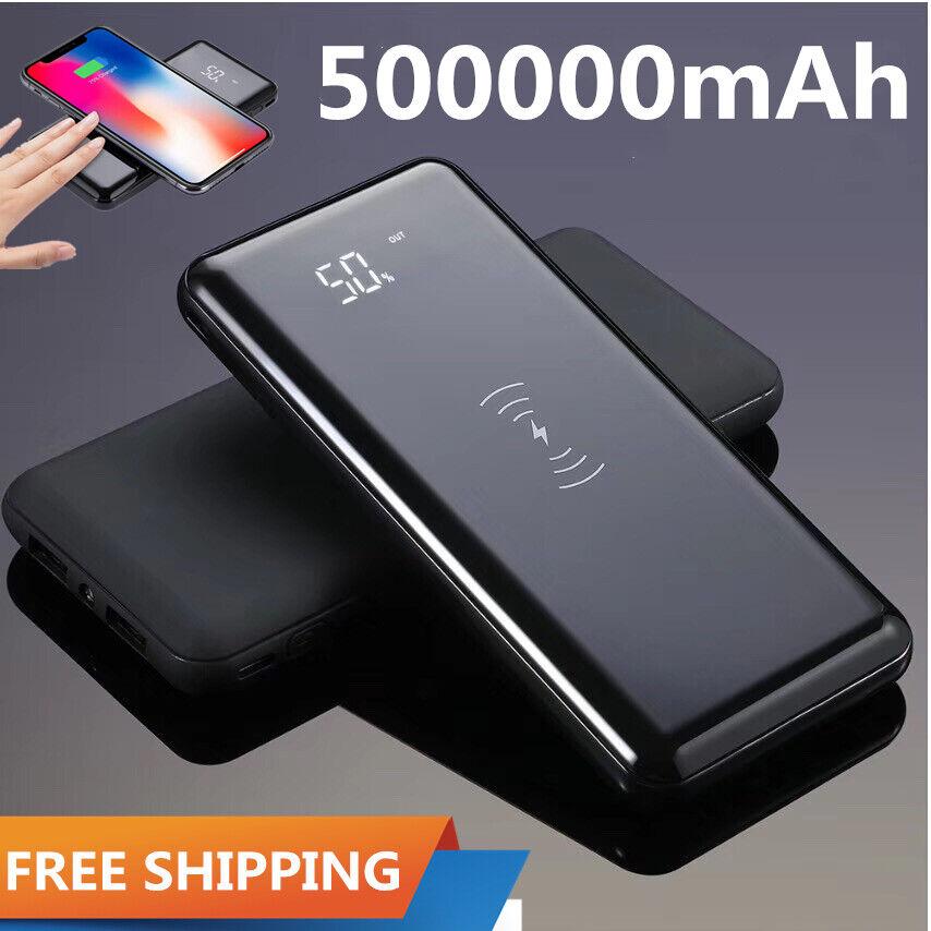 Qi Wireless External 500000mAh Power Bank 2 USB Portable Bac