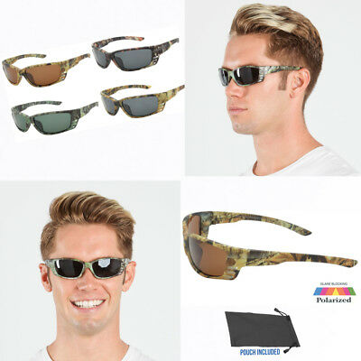 Mens Polarized Camo Small Face Camouflage Hunting Sports Wrap (Small Face Sunglasses)