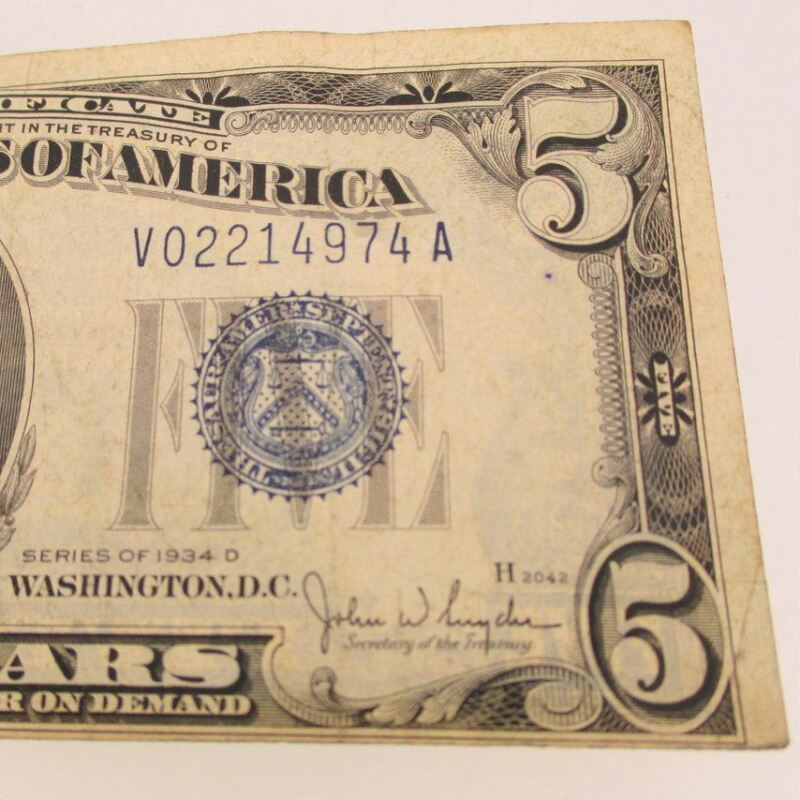 1934 D Silver Certificate United States 5 Dollar Bill Five Dollar
