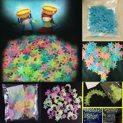 100pcs 3D Stars Glow In The Dark Luminous Fluorescent Wall Stickers Room