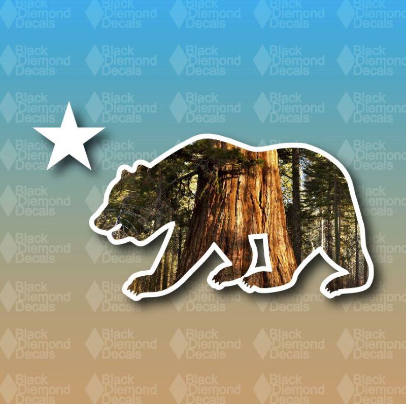 "California State Bear Sequoias Redwood Park Star 5"" Custom Vinyl Decal Sticker"