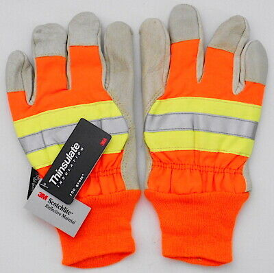 Reflective 3m Scotchlite Leather Gloves Thinsulate Lining 100 Gram M Safety Cuff