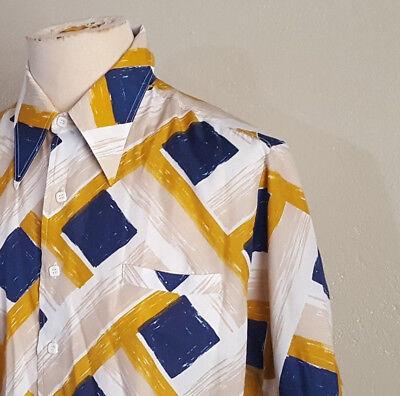 VTG 70s Kings Road Short Sleeve Shirt  Polyester Blue Gold White L Disco Power](Gold Disco Shirt)