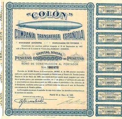 1928 Colon Compania Transaerea Espanola Bond Certificate