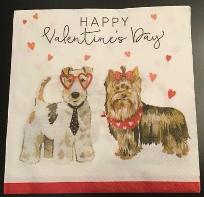 Set Of 20 Valentine Puppy Dog Hearts Lunch Paper Napkins Kitchen Dinner Table
