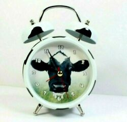 Wacky Wakers Alarm Clock Mooing Cow Barnyard Farm Series Black White Works Good