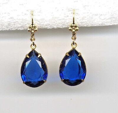 BEAUTIFUL COBALT BLUE cut-crystal Pear TEARDROP Earrings 14K Gold gp *Vtg Czech