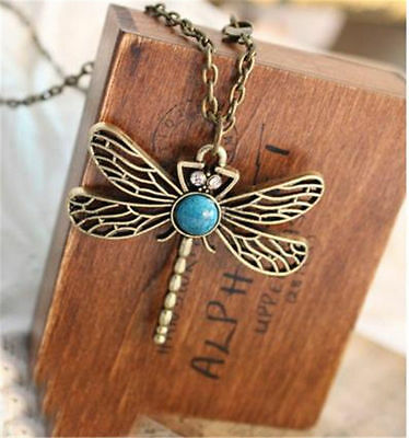 Women Retro Personality Pierced Dragonfly Sweater Chain Necklace Jewerly