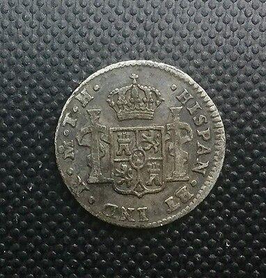 MEXICO 1807  MO TH   1/2 REAL SILVER COLONIAL   COIN