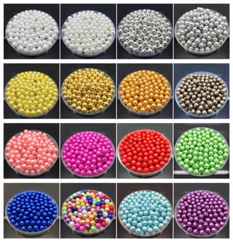 Beads - New 4mm 6mm 8mm 10mm DIY Acrylic Round Pearl Spacer Loose Beads Jewelry Making