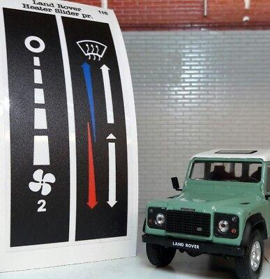 Land Rover Defender Dash Binnacle Illuminated Heater & Fan Control Labels TD5