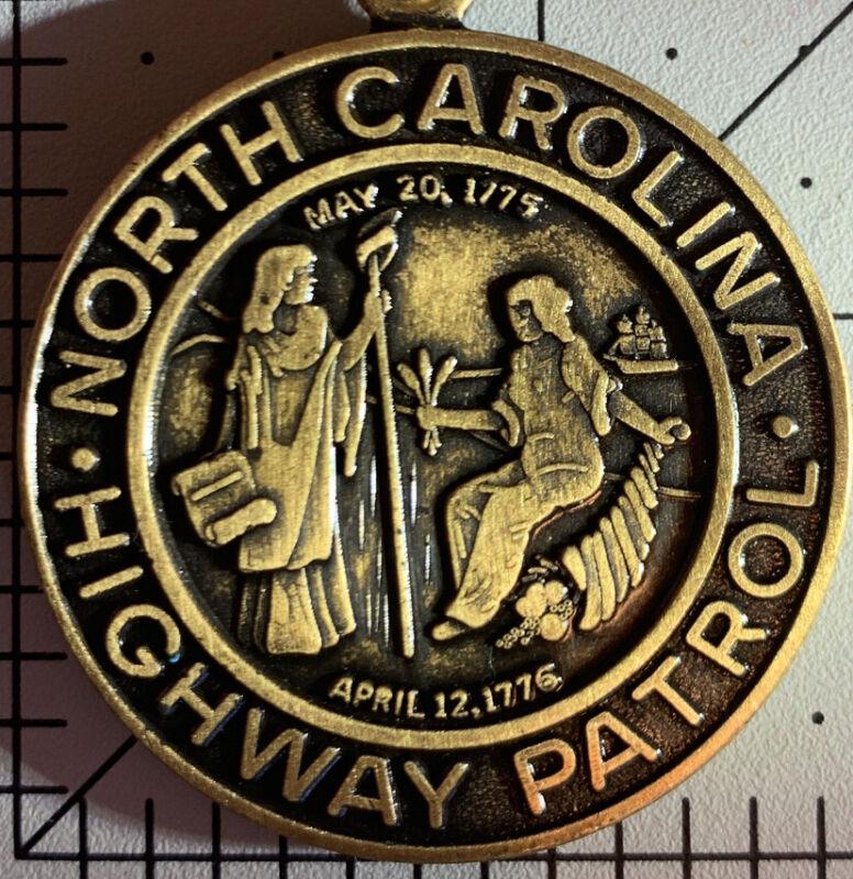 North Carolina Highway Patrol Medallion Keychain Token Seal Brass Key