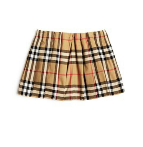 Burberry Girl Mini Pearl Vintage Check Pleated Skirt Beige Tan 18 Month NWT $150