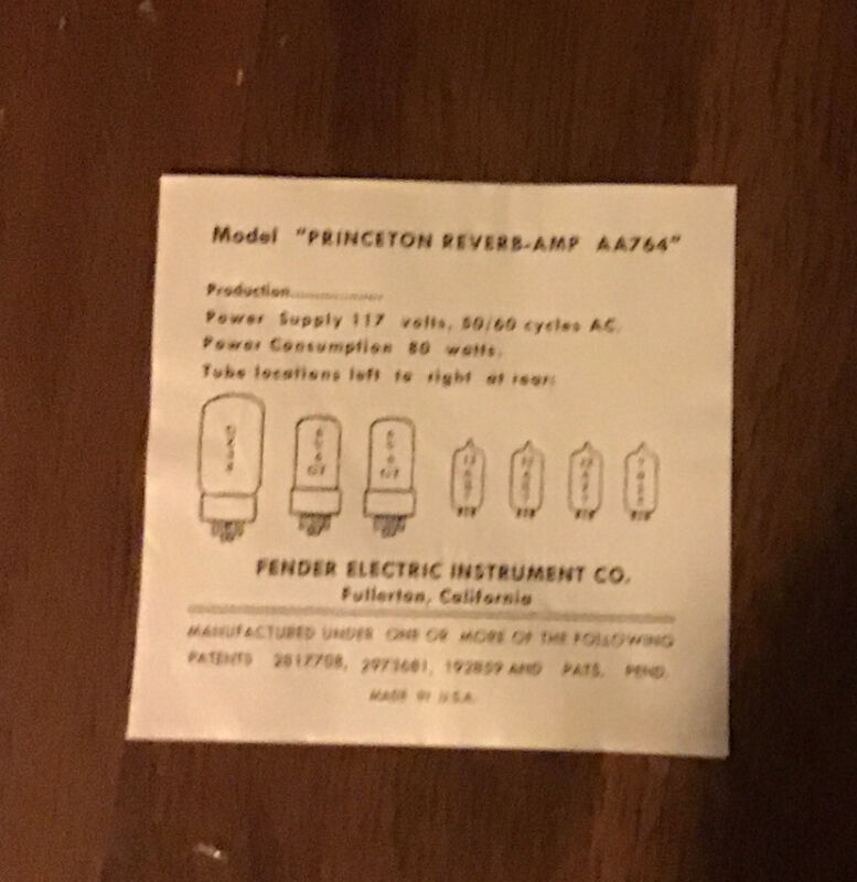 Vintage Blackface Princeton Reverb AA764 Replacement Tube Chart 1964 FEIC