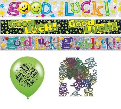 GOOD LUCK PARTY DECORATIONS BANNER BALLOONS CONFETTI