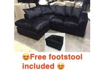 BRAND NEW CRUSHED VELVET CORNER SOFA SET WITH FREE MATCHING FOOTSTOOL 🔥✅