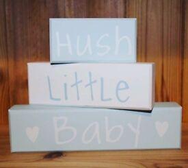 Wooden Hush Little Baby Blocks.. ♡